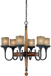 Port Morris 6-Light Shaded Rustic Chandelier farmhouse Cabin Lodge Decor