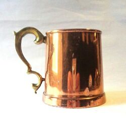 Antique copper beer tankard brass handle half pint stein from Ireland
