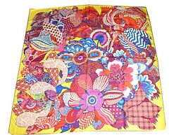 """Hermes Shawl GM Fleurs d'Indiennes by Aline Honore 140 cm Silk Yellow 56"""" Scarf"""