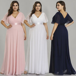 Ever-Pretty US Plus Size Long V-neck Bridesmaid Dresses Pink Wedding Gowns 09890 $35.99