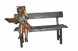 Girl with Glasses on Bench  Bronze Statue -  Size: 43
