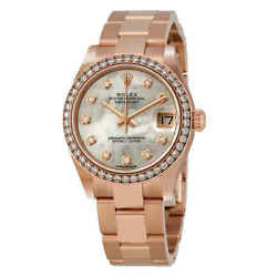 Rolex Datejust 31 Automatic Mother of Pearl Diamond Dial Ladies 18 ct Everose