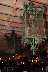 Pair of Large Bronze Lanterns wEtched Glass
