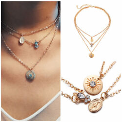 1Pcs Multilayer Necklace Choker Crystal Pendant Long Chain Necklace Jewelry Gift