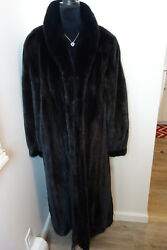 Excellent Plus 1x Black Mink Fur Jacket Coat 3666c