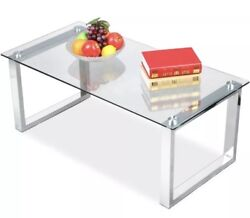 Cocktail Coffee Table Glass Top Clear Chrome Finish LegsLiving Room Furniture
