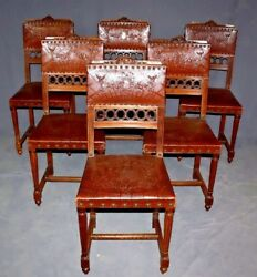 19th Century French Louis XVI Carved Walnut & Tooled Leather Chairs Set of Six