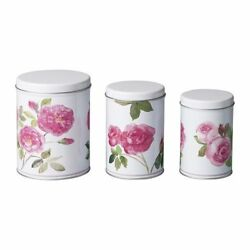 3 Ikea TRIPP Metal Tin Containers Kitchen Bins Canisters Coffee Tea Floral $27.95