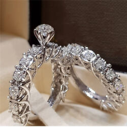 Gorgeous 925 Silver Filled Wedding Set Rings for Women White Sapphire Size 5-12