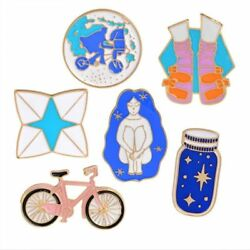 Brooch Creative Long Hair Beauty Bicycle Wishing Bottle Socks Cartoon Badge Pins