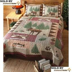 3 Piece King Moose Lodge Quilt Set Wildlife Decor Fishing Outdoors Design Cabin
