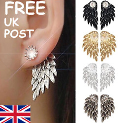 LARGE DOUBLE SIDED ANGEL WINGS DIAMANTE CRYSTAL EARRINGS in BLACK GOLD SILVER