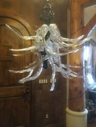 Custom Blown Glass Antler Chandelier One of a kind! Great Condition.