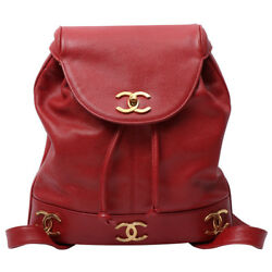 Vintage CHANEL Caviar Leather 6 CC Mark Plate Backpack with Pouch Red