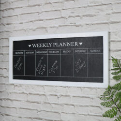 White wood frame days of the week chalk board weekly planner memo kitchen gift