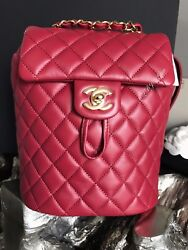 NWT CHANEL URBAN SPIRIT BACKPACK RED BURGUNDY GOLD SMALL MINI CLASSIC TRAVEL NEW