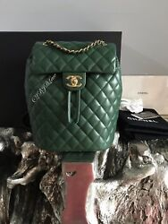 NWT CHANEL URBAN SPIRIT BACKPACK DARK GREEN GOLD SMALL MED CLASSIC FLAP TRAVEL