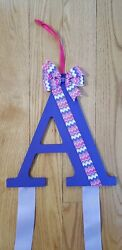 Hair bow holder organizer personalized wooden letter