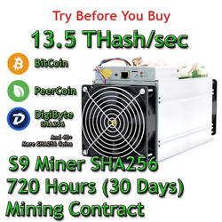 Bitmain Antminer S9 13.5 THashsec Guaranteed 30 Days Mining Contract SHA256