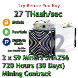 2 x Bitmain Antminer S9 27 THashsec Guaranteed 30 Days Mining Contract SHA256