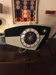 MidCentury Retro Atomic style formica Mantle Clock Hand Made in the UK by Royale