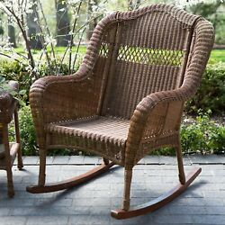 IndoorOutdoor Patio Porch Walnut Resin Wicker Rocking Chair
