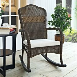 IndoorOutdoor Patio Porch Mocha Wicker Rocking Chair with Beige Cushion