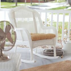 IndoorOutdoor Patio Porch White Resin Wicker Rocking Chair