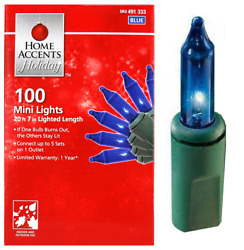HOME ACCENTS HOLIDAY 100 COUNT BLUE INCANDESCENT MINI LIGHTS WITH GREEN WIRE $9.99