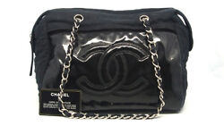Authentic CHANEL Black Cotton Canvas Vinyl CC Logo Chain Shoulder Bag 18045253CK
