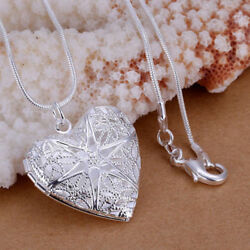 Wholesale 925 Sterling Silver Heart Necklace Locket Photo Pendant 18