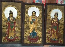 Old wood Inlay purple copper 24k gold Western 3 god Buddha wall hanging Thangka