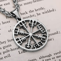 Viking Vegvisir Compass Open Stainless Steel Pendant Necklace $23.99