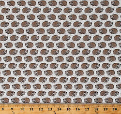 Cotton Hedgehogs Animals Taupe Woodland Pitter Patter Fabric Print BTY D766.61