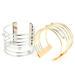 1Pcs Fashion Women Retro Bangle Multilayer Alloy Open Cuff Crystal Bracelet