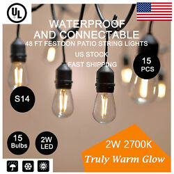 6x 48ft S14 LED Commercial Festoon Patio String Lights Outdoor Indoor Decor Lamp