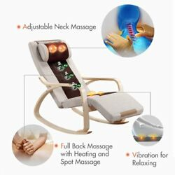 Massage Recliner wood Chair Lounge Swivel Leather Vibrating Heated With Control