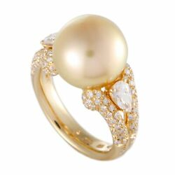 Mikimoto 18K Yellow Gold Diamond and 12.0-13.0mm Golden Pearl Ring