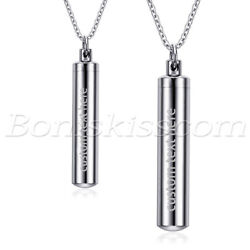 2pcs Couples Stainless Steel Custom Perfume Bottle Ashes Keeper Pendant Necklace $9.99