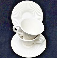 LENOX china white Butler's Pantry pattern Cups & Saucers - Set of 2!