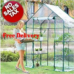 Portable mini Greenhouse Plant Shelves Canopy metal frame clear plastic cover