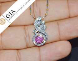 GIA Certified Natural 2.75Cts VS F Diamond Sapphire 18K Solid Gold Slide Pendant