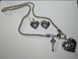 Brighton Beach   FILIGREE HEART & KEY NECKLACE SET