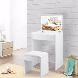 White Vanity Makeup Table with Upholstered Bench Flip Mirror & Jewelry Drawer