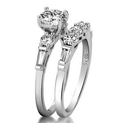 2pcsset Women 925 Silver Wedding Engagement Rings White Sapphire Ring Size 6-10