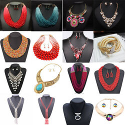 Fashion Jewelry Set Zircon Rhinestone Necklace And Earrings For women lady girl
