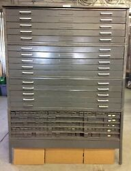 Hamilton 15 And 134 Drawer Map Blueprint Flat File Rolled Up Cabinet Industrial
