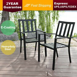PHI VILLA Outdoor Patio Steel Slat Seat Dining Arm Chairs Set of 2 for G