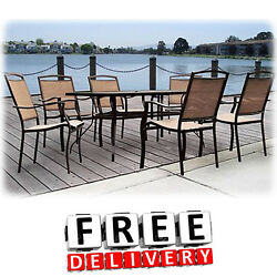 7 Piece Patio Dining Set Outdoor Table Chairs Bistro Backyard Garden Furniture