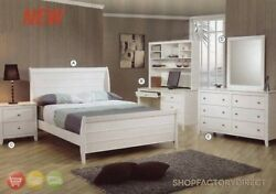Selena White Wood Full Bed 6 Piece Bedroom Furniture Set w Desk Hutch Coaster
